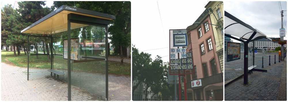 A few examples of bus and tram stops we came across in Bratislava.