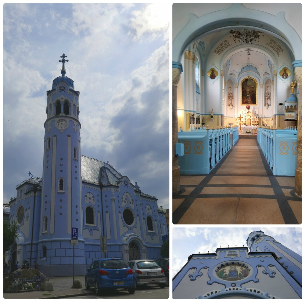 On the clearest of days, it's said that the Church of St. Elizabeth (Blue Church) blends into the sky.
