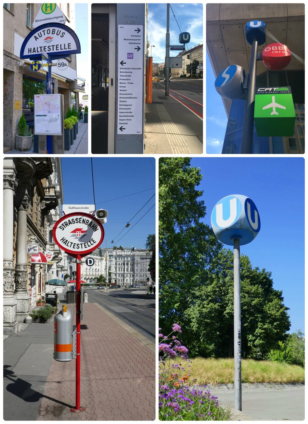 Clockwise (from the top): a bus stop, a sign with the U-Bahn line stops on the outside of the U-Bahn station, a post with signs for multiple transportation options, when looking for a U-Bahn station keep an eye out for this sign, a tram station.