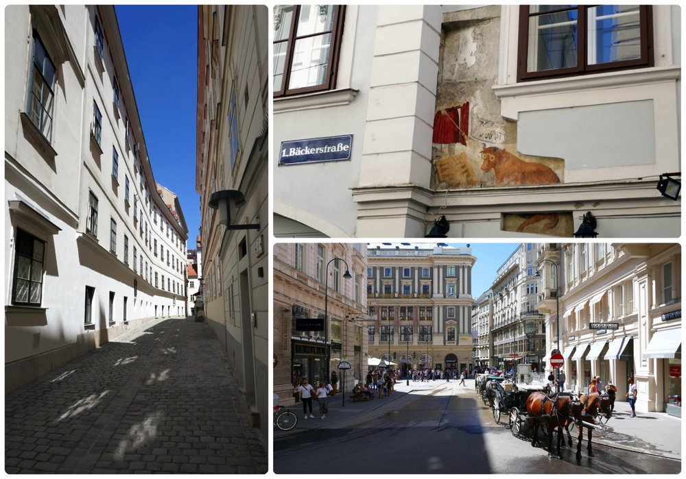 The streets in the center of Vienna are just calling to be explored. Don't miss the historic Wolf and Cow Playing Backgammon mural on Bäckerstrasse (top right image)!