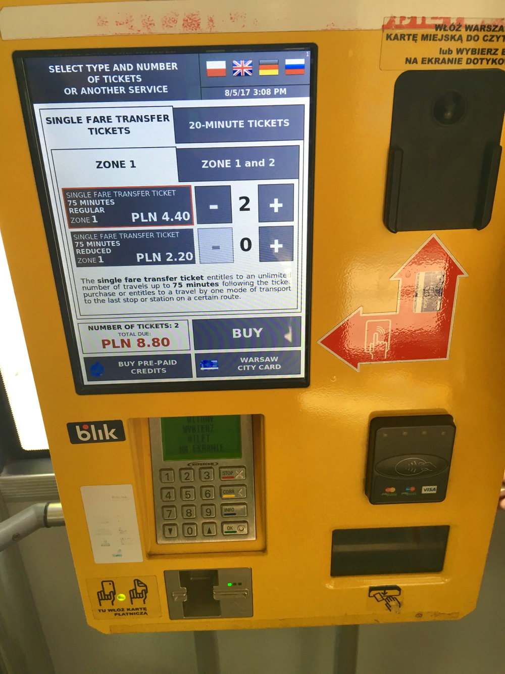 This ticket machine was located in the center of the bus. We changed the language to English by selecting the United Kingdom flag in the upper right corner of the touch screen.
