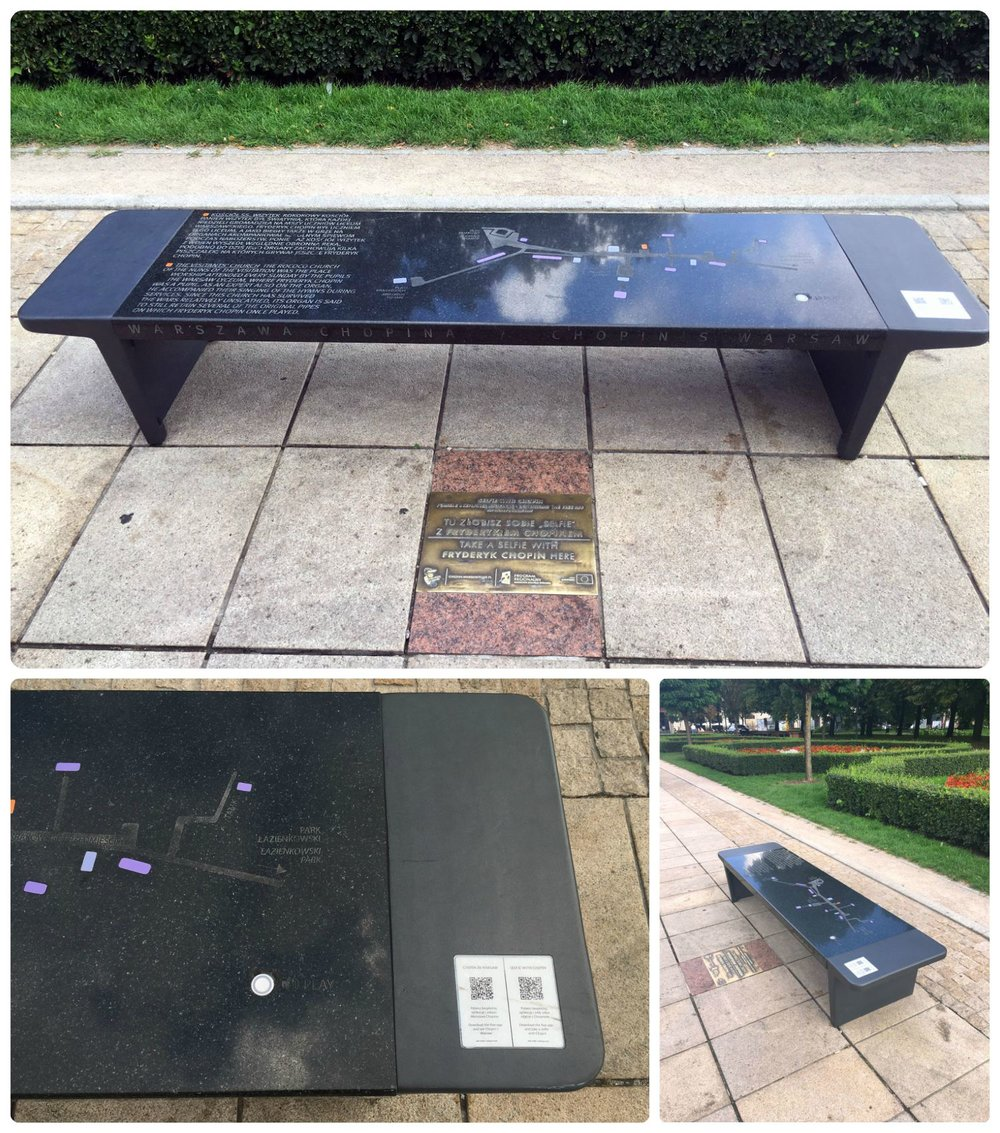There are 15 Chopin Musical Benches placed in significant historical Chopin locations around Warsaw. When you find one, press the chrome button to hear a bit of his music!