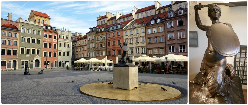 In the center of Old Town Square is a replica of the original Mermaid statue that protects the city. To see the original (pictured on the right), head over to the Museum of Warsaw were it's kept safe.