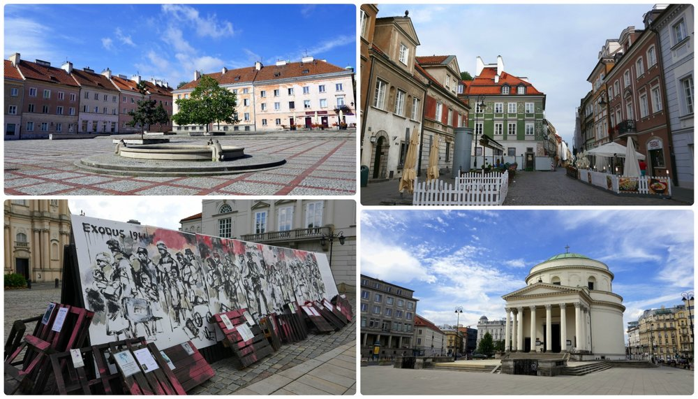 Explore Warsaw and you're bound to find some amazing sights! Clockwise (from the top): Marienstat Square, a lovely street lined with cafes, St. Alexanders Church is located in the middle of a busy street in downtown Warsaw, Exodus 1944 art exhibit by Boguslaw Lustyk and Beta Design.