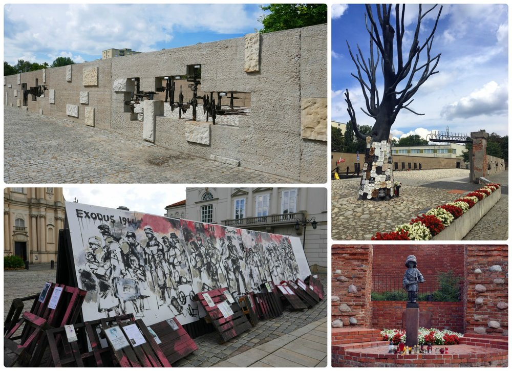 Warsaw has many memorials dedicated to the suffering and wars within the country. Clockwise (from the top): The exterior of the Museum of Pawiak Prison, the courtyard of the Museum of Pawiak Prison, the Monument to the Little Insurgent, a temporary display of art in Old Town Warsaw - The Exodus 1944.