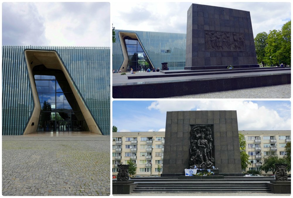 Clockwise (from the top): The entrance to the striking and modern building of the Museum of History of the Polish Jews, the Ghetto Heroes Monument from the side looking towards the museum, the opposite side of the Ghetto Heroes Monument.