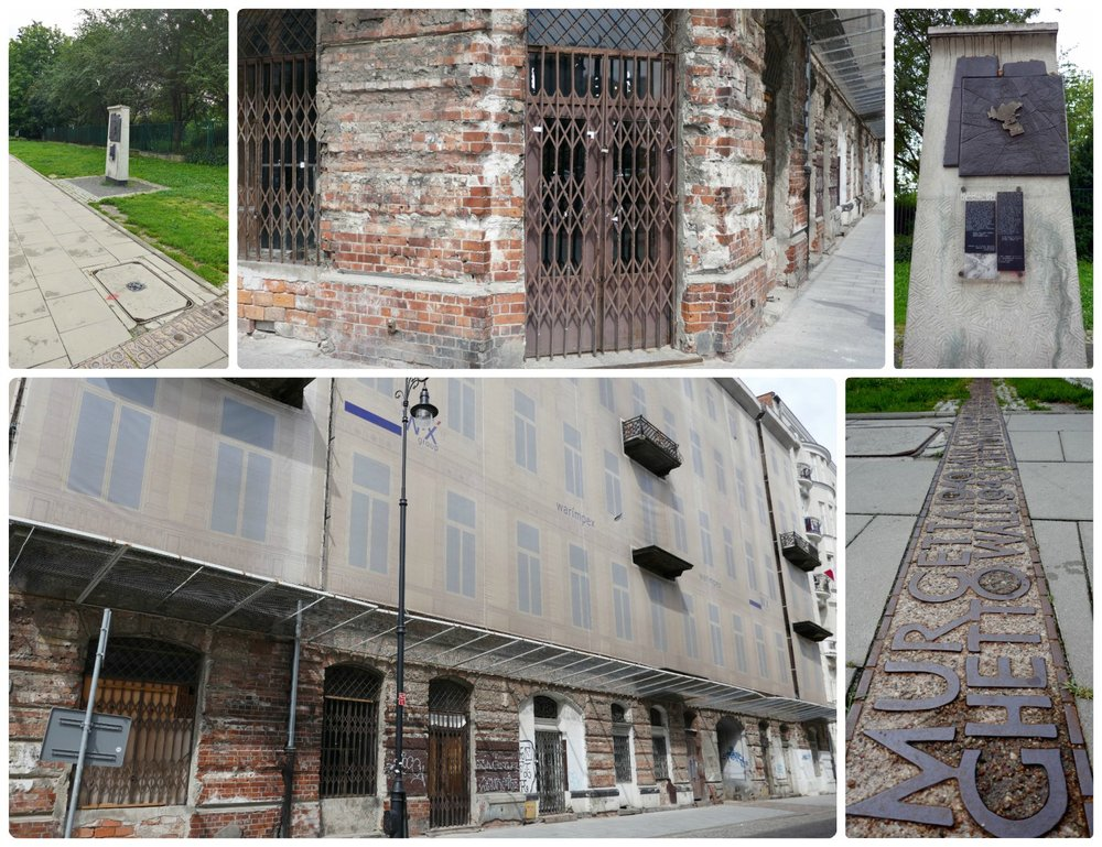 The impact of World War II was strong and heavy in Warsaw. Clockwise (from the top): A marker of the Jewish Ghetto Wall, the building on 14 Pronza Street that shows the scars of life living in the ghetto during the war, markers on the pavement run through the city as a reminder of where the boundary of the ghetto once was, the building on 14 Pronza Street that's one of the last buildings left that hasn't undergone reconstruction since World War II.