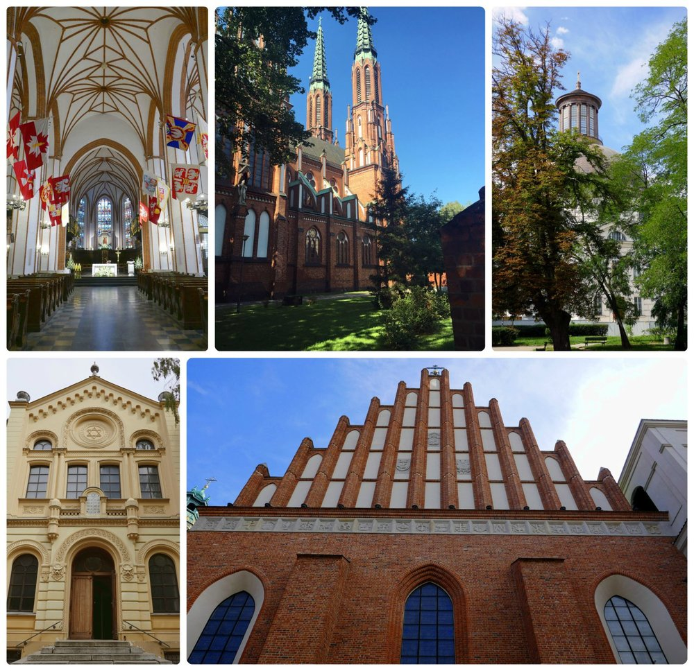Warsaw's churches, clockwise (from the top): The interior of St. John's Archcathedral, Cathedral of St. Michael the Archangel and St. Florian the Martyr, Holy Trinity Evangelical Church of the Augsburg Confession (also known as Zug's Protestant Church), the exterior of St. John's Archcathedral, Nozyk Synagogue.