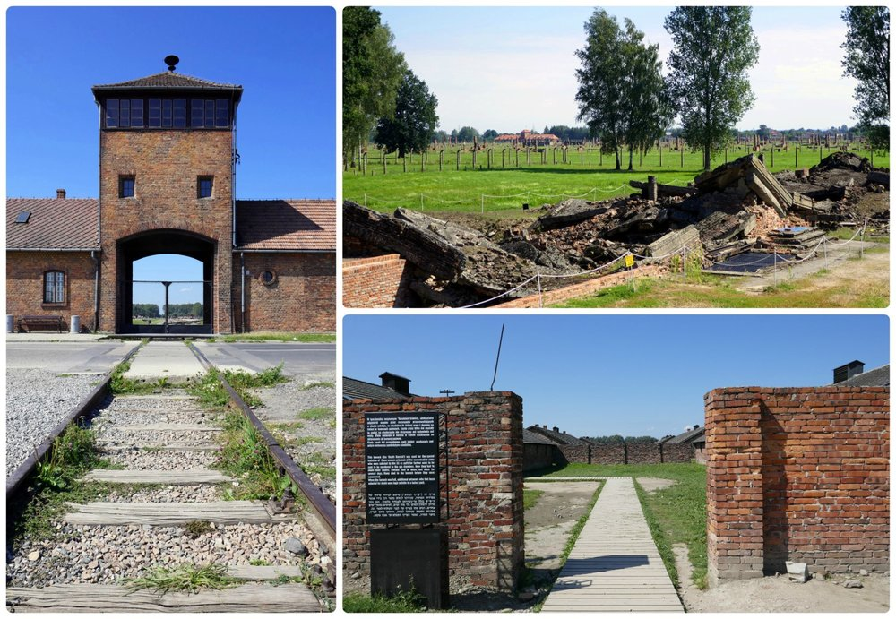 There's a free shuttle to Auschwitz II-Birkenau, or your tour will make the short drive there. Clockwise (from the top, left): The notorious train tracks that led to the entrance of the camp, the ruins of where the gas chambers used to be, the entrance to one of the most feared parts of the camp - where prisoners knew they were soon going to be killed.
