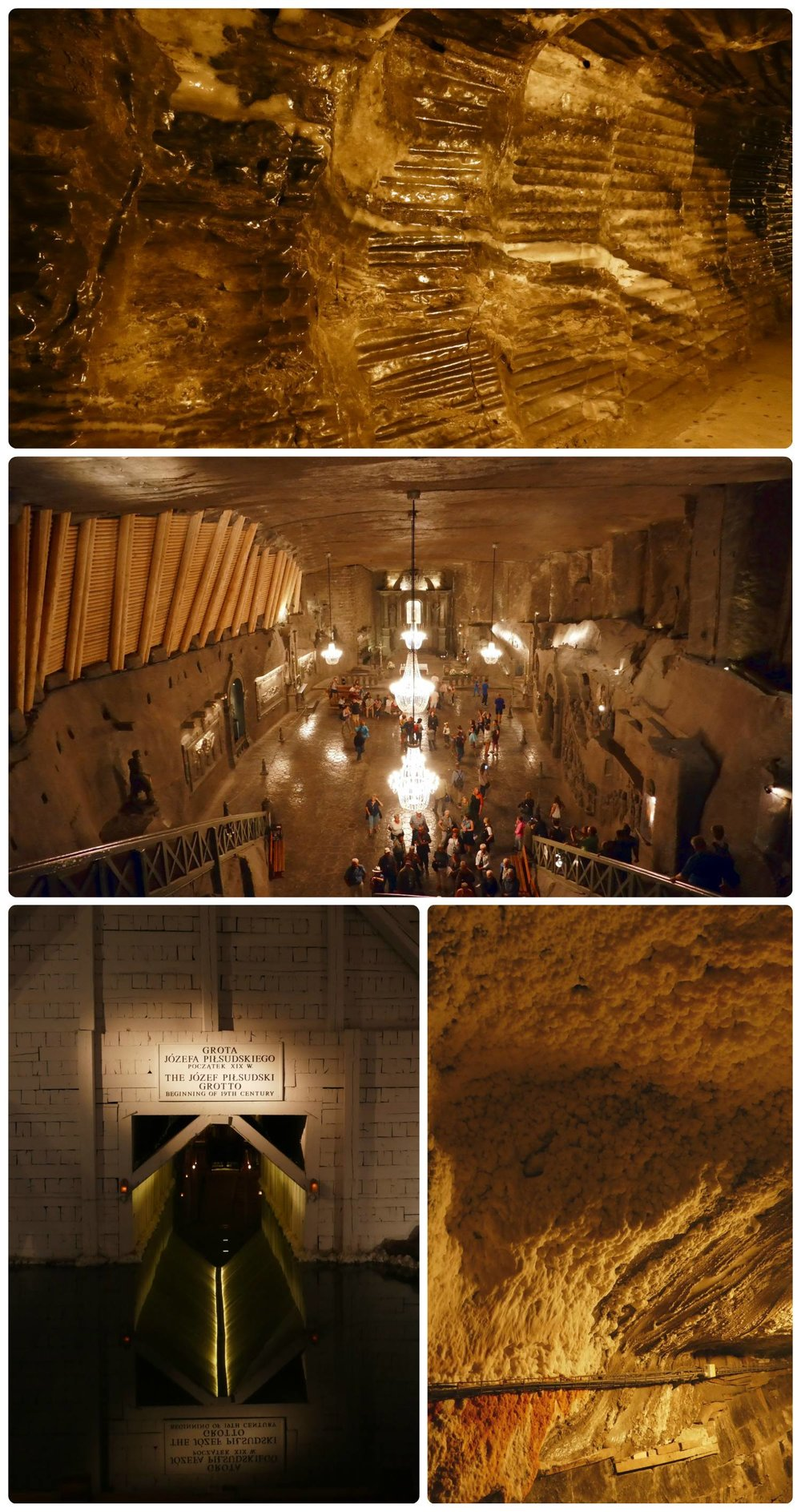 The walls in the mine are covered in salt and form in popcorn-like structures, or in a smooth shiny finish. From the salt sculptures, large salt cathedrals, to the salt water lakes, the mine has been turned into a tourist spot!