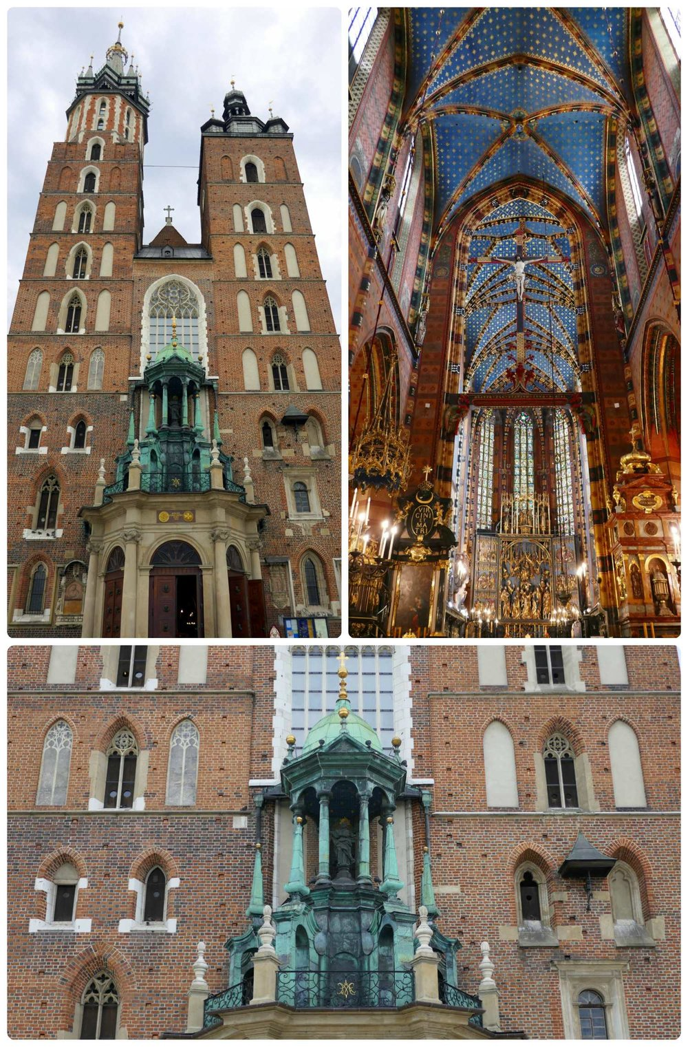 St. Mary's Basilica is a dominating and beautiful presence in Old Town Square Krakow, Poland.