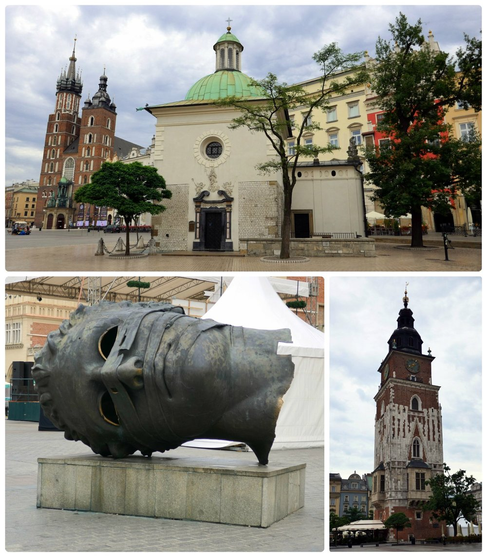 Town Hall Tower stands in the middle of Old Town Square and fits in with its surroundings. However, Church of St. Wojciech is in the south east corner and looks a bit out of place, almost as if it was placed in its location as an afterthought. Additionally, consider yourself forwarned, by mid-day the Eros Bendato scultpture was covered in kids climbing it from all sides, so arrive early to get a picture of it alone.