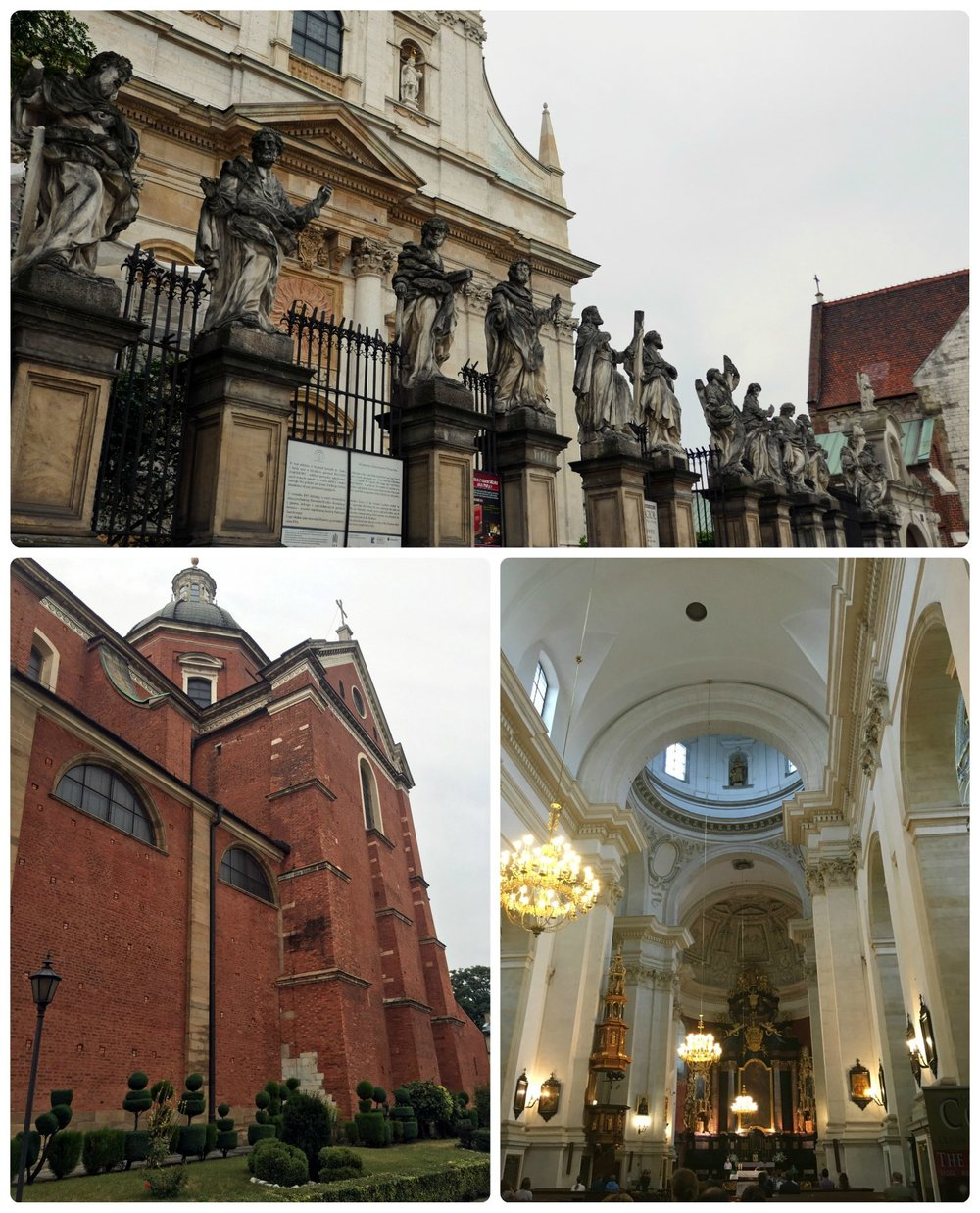 The view of the front exterior of Church of Saints Peter and Paul in Krakow, Poland is sure to catch your attention with the row of sculptures that top the gate.