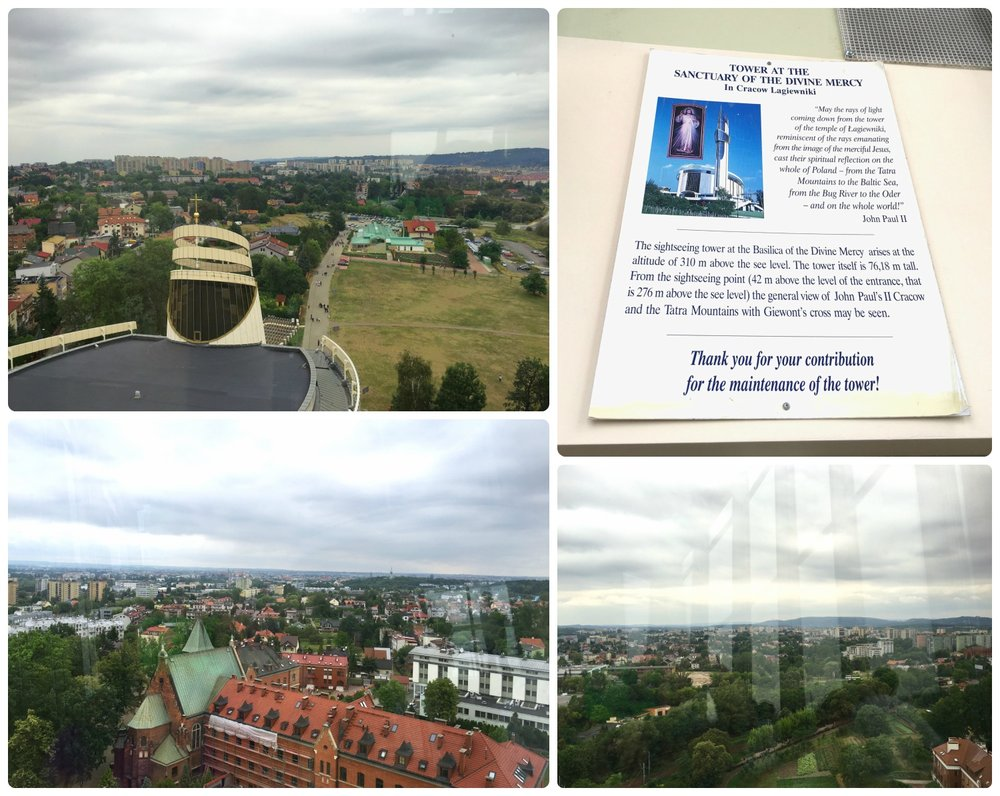 The tower of Sanctuary of Divine Mercy in Krakow, Poland is hard to miss, but the best part is that it's free to climb the stairs (or take the elevator) to the viewing tower and take in the panoramic views.