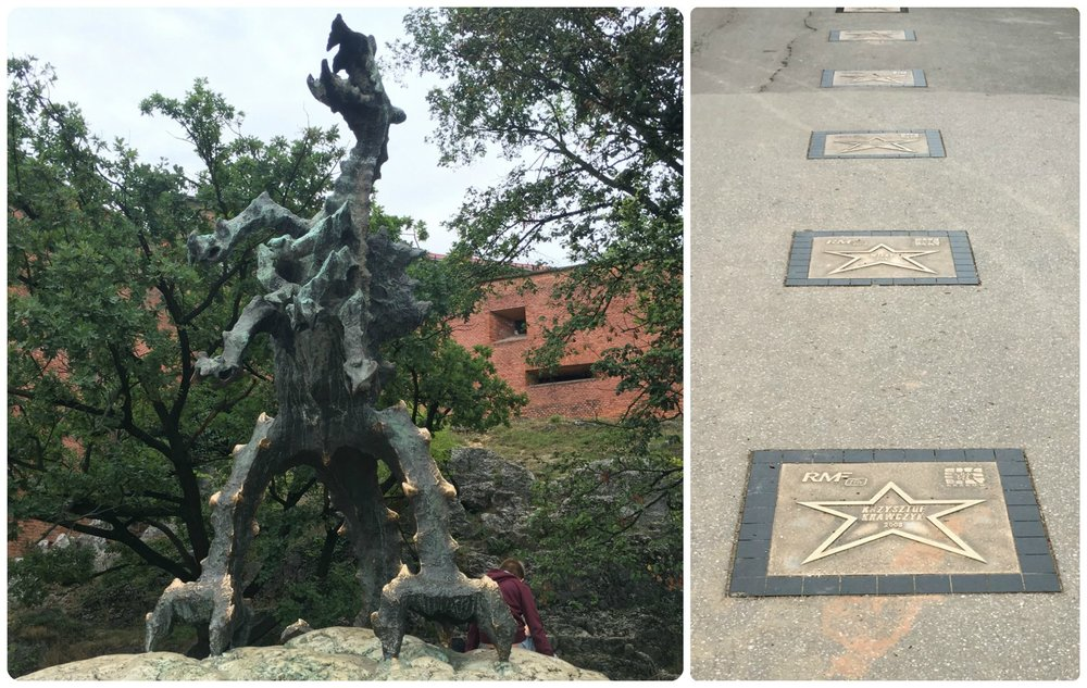 A short walk down hill from Wawel Cathedral and Wawel Castle is Wawel Dragon, which kids love because it breaths real fire! Also, if you're interested in Polish celebrities, there's a walk of stars on the walkway along the river, just in front of the Wawel Dragon.