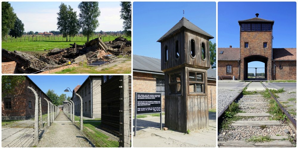 Two of the three camps at Auschwitz are open to the public. Clockwise (from the top): Ruins of a gas chamber at Auschwitz-II Birkenau, a guard tower at Auschwitz-I, the entrance to Auschwitz-II Birkenau, the double barbed wire fences that enclose Auschwitz-I.