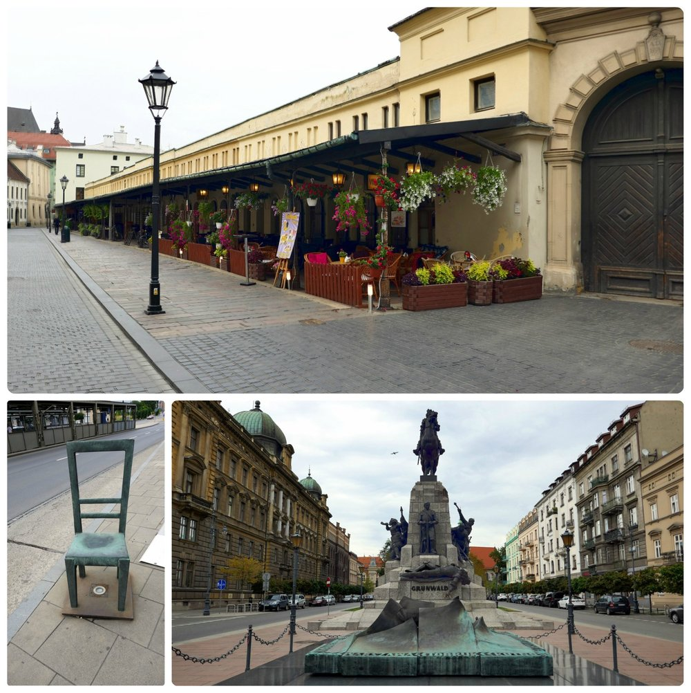 You'll never really know a city fully until you explore the streets by foot. You'll discover alleyways, markets, monuments, and memorials. In our exploration of Krakow, Poland we came across the Empty Chairs Memorial (bottom left image), which is in memorial of the World War II Ghetto in Krakow and its victims.