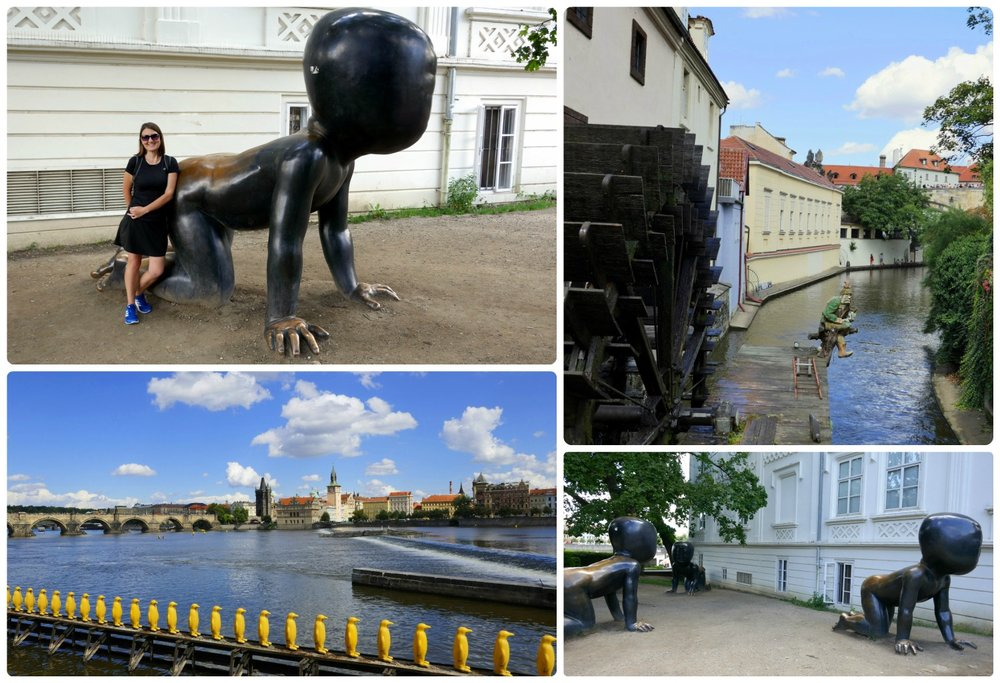 Prague is known for its unique art pieces, several of which can be found on Kampa Island.
