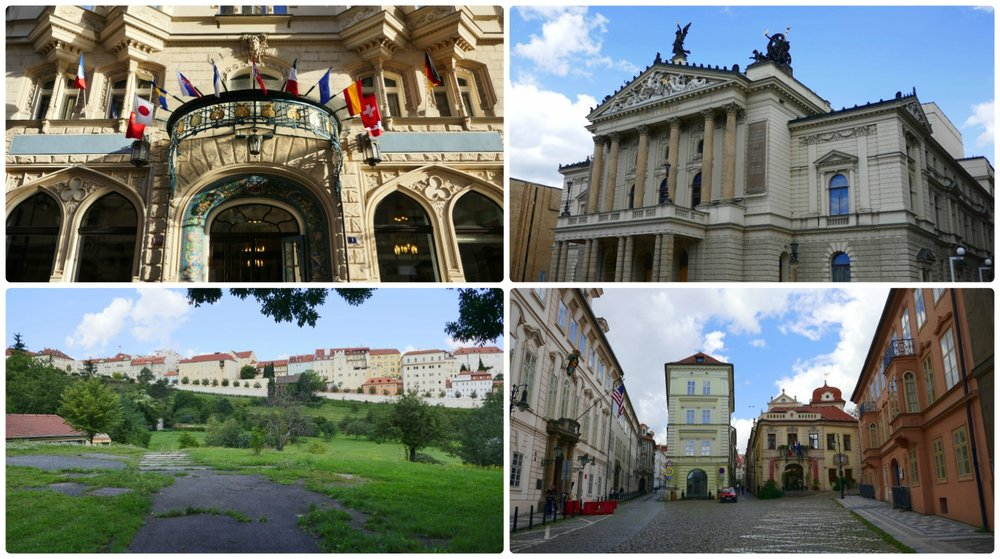 When exploring, not only will you come across the beauty of the city, but you'll likely find things you didn't realize you wanted to see. Clockwise (from the top left): The Hotel Paris was wonderfully designed with country flags all along the exterior, the Opera House was on our walk from the train station to our house sit, below Prague Castle we were excited to see the US Embassy on a quaint cobblestone street, on a walk from one attraction to another we found this walkway to be as if it were in the middle of the countryside and not in the middle of the country's capital!