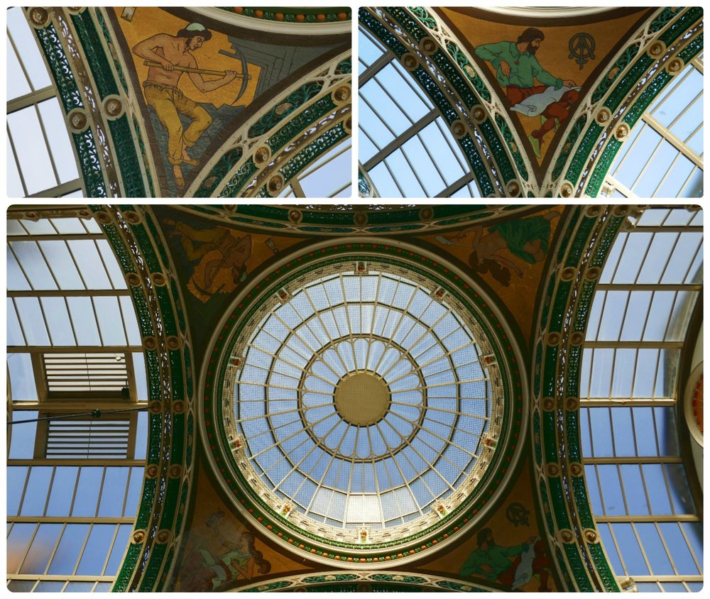 The dome at the center of County Arcade (next to Victoria Quarter) had us looking up and admiring the glass and iron ceiling that was decorated with beautiful tile work!