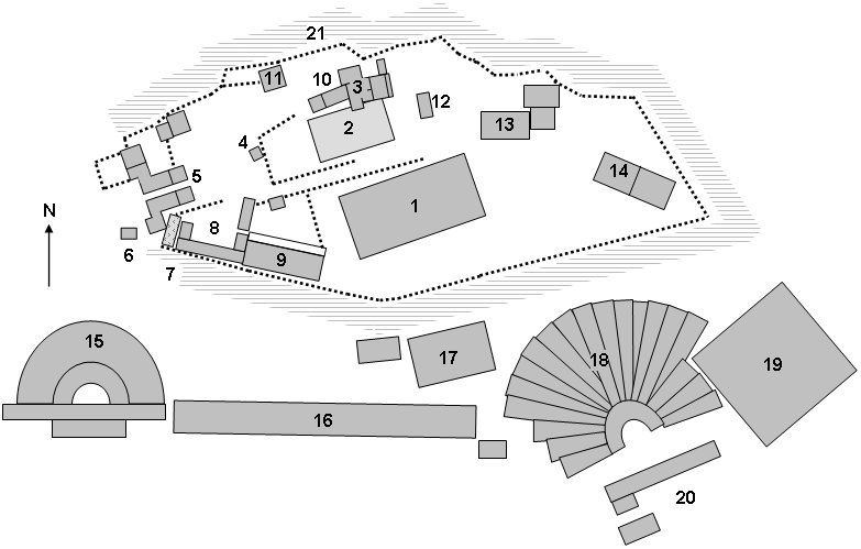 A map of the Athens Acropolis and its ruins that can be seen within the complex. Reference the list below for information on the corresponding numbers on the map.   Source:     https://en.wikipedia.org/wiki/File:AcropolisatathensSitePlan.png