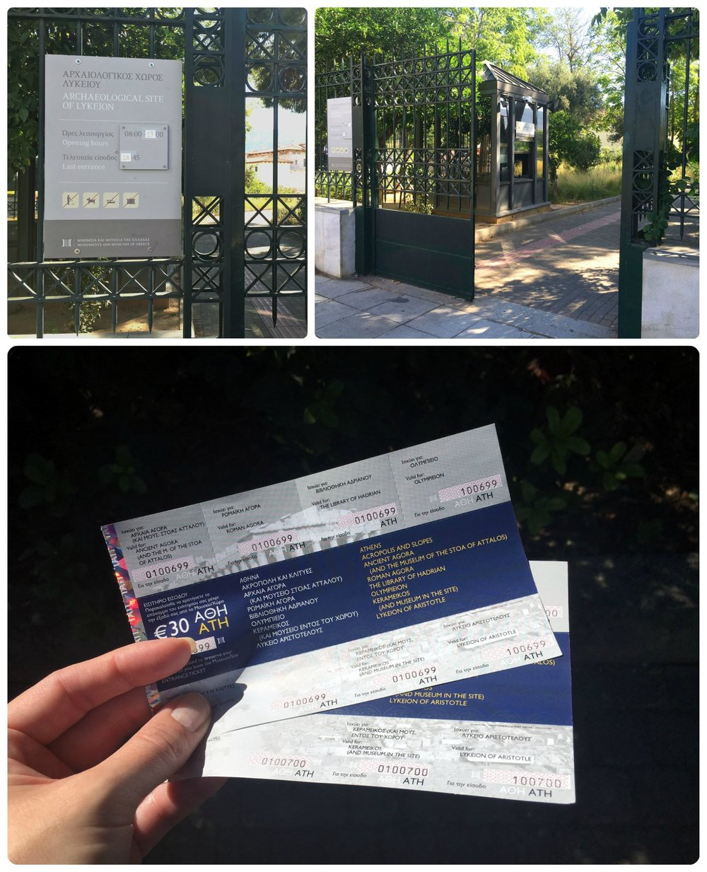 The Athens Combined Ticket is sold by the Greek Ministry of Culture and grants access to seven popular ancient ruin sites in Athens, Greece. We avoided a wait time in line at the Acropolis of Athens by purchasing our tickets at Aristotle's Lyceum.