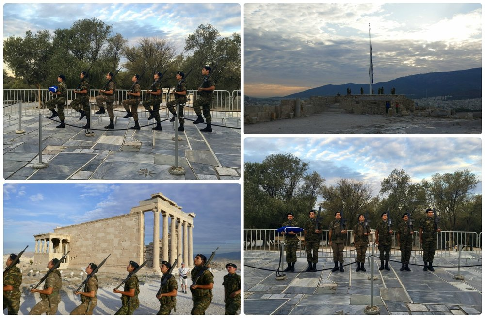 While most people were still waiting in line to purchase entrance tickets, we were able to see the ceremonial rising of the Greek flag atop the Acropolis of Athens.
