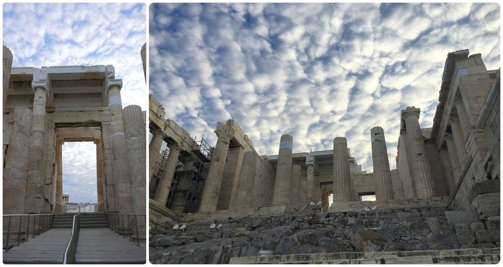 You'll make the final ascent through the entrance gates of the Propylaea before reaching the top of the Acropolis of Athens. Just 30 minutes after these pictures were taken, the area was a sea of visitors.