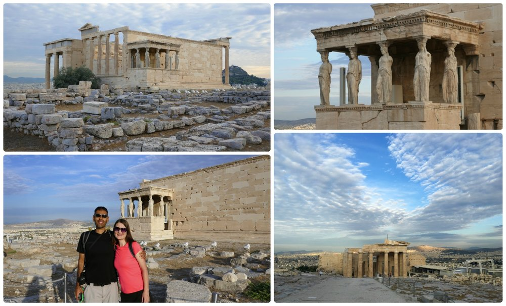 Clockwise (from the top): The foundation and ruins of the Temple of Athena with the Erechtheion and Pandroseion in the background, the Porch of the Maidens, looking back the Propylaea from the top of the Acropolis of Athens, us in front of the Erechtheion and Temple of Athena.