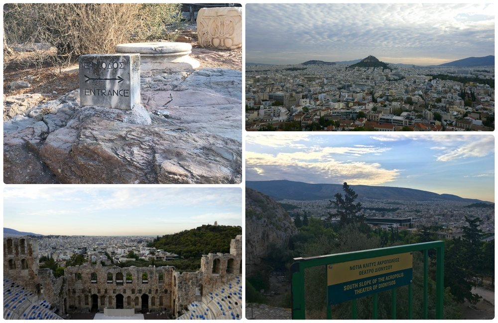 Don't forget to take in the sights as you walk your way up the dirt path to the top of the Acropolis of Athens. We may have paced ourselves ahead of the crowd, but we still took the time to take pictures!