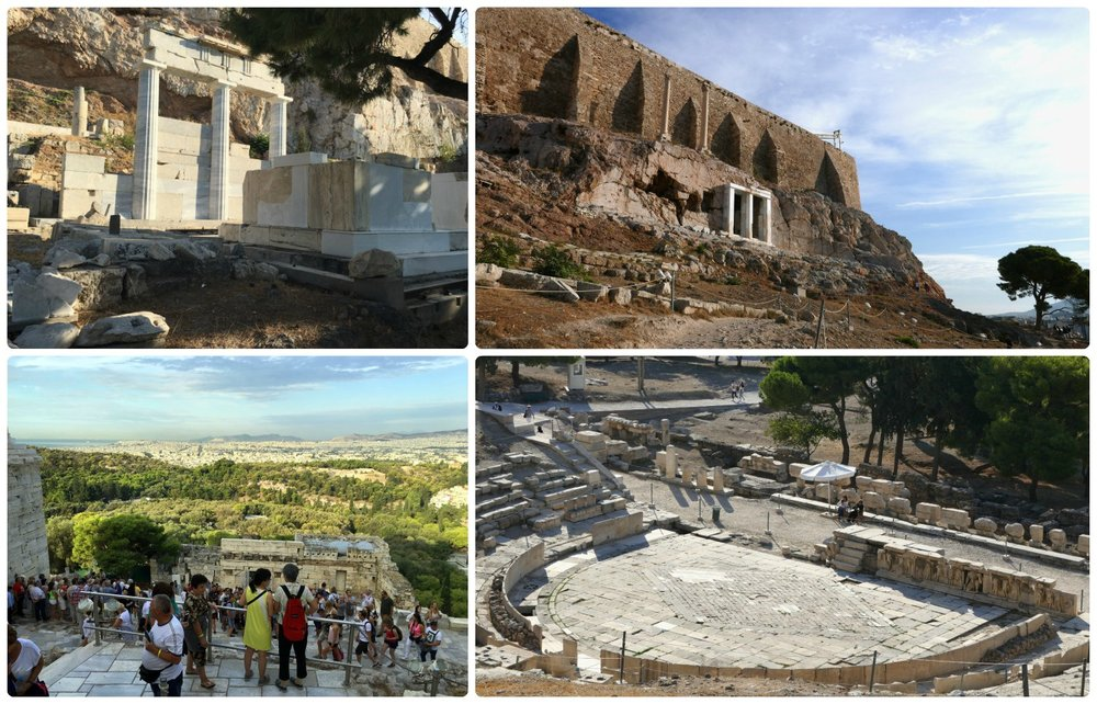 Clockwise (from the top left): The Temple of Asclepius, East Slope of the Acropolis, Theatre of Dionysus Eleuthereus, the crowds about 30 minutes after opening.