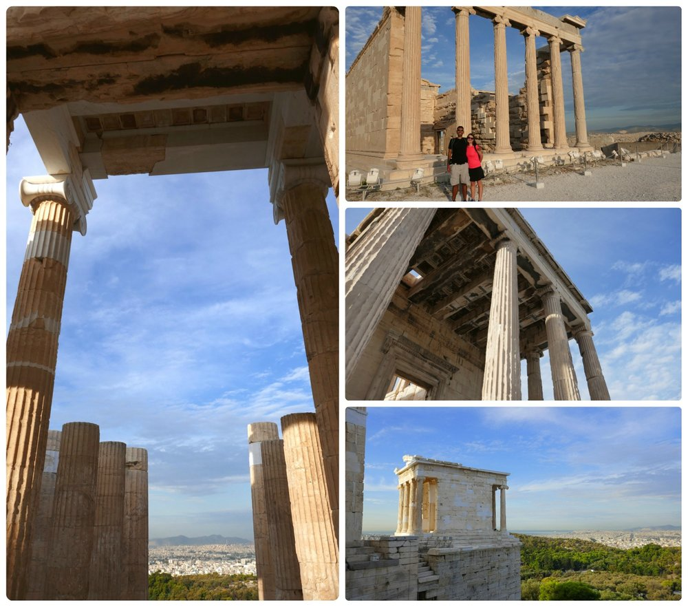Clockwise (from the top left): Inside the Propylaea, us in front of the Erechtheion, the side of the Erechtheion, the Temple of Athena Nike.