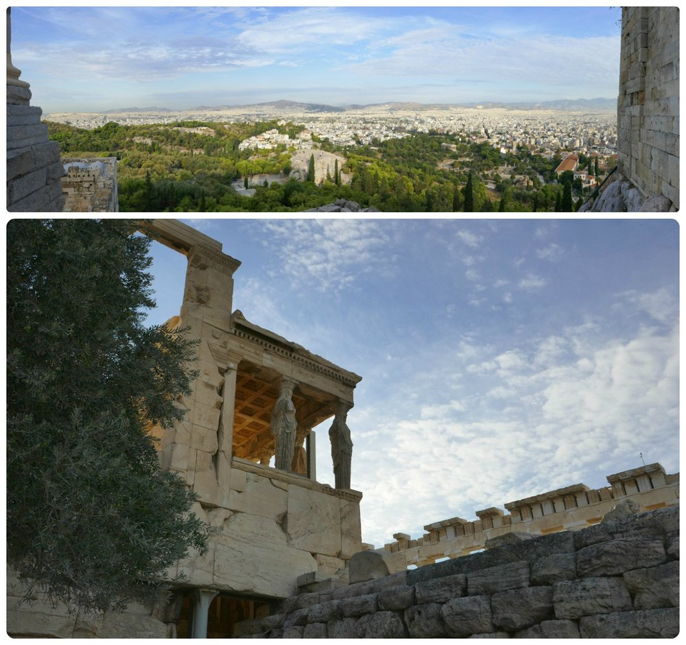 Top: The view overlooking the city of Athens from the top of the Acropolis of Athens. Bottom: Looking up at the Porch of Maidens from the lower pathway on the West Slope.