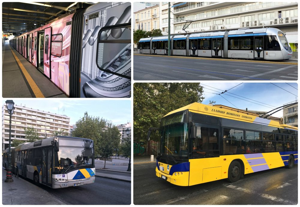 Different types of Athens public transportation, clockwise (from the top left): metro, tram, trolley, bus.