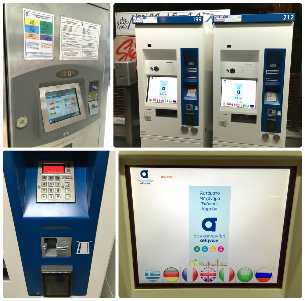The newer public transportation ticket machines in Athens that accept credit cards.