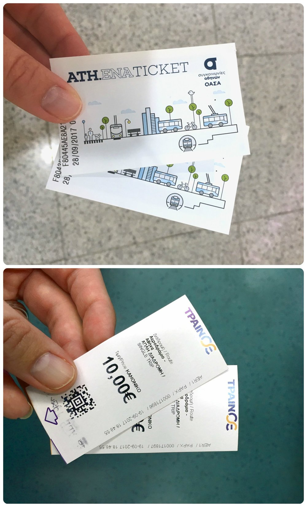 Athens public transportation tickets.