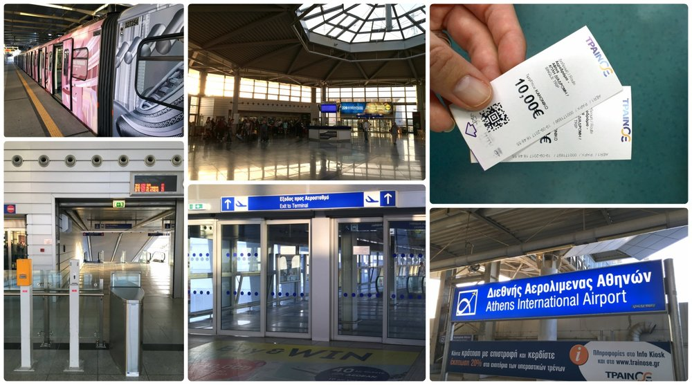 Using public transportation to get to and from Athens Airport is, in our experience, a great option! Clockwise (from the top left): The metro at the airport, the central ticket area for purchasing both metro and train tickets, tickets to and from the airport are 10 Euro, a sign on the metro platform, a directional sign for the airport, ticket validating machines at the airport.