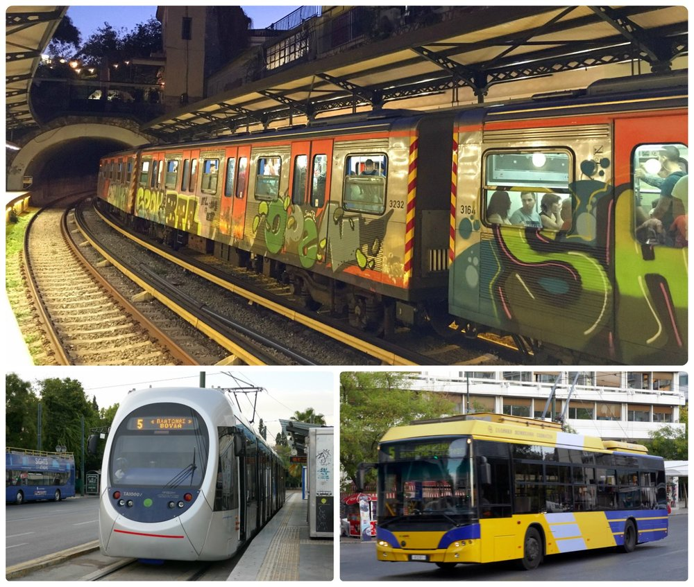 Clockwise (from the top): Metro station at Monastiraki Square, a trolley, a tram.