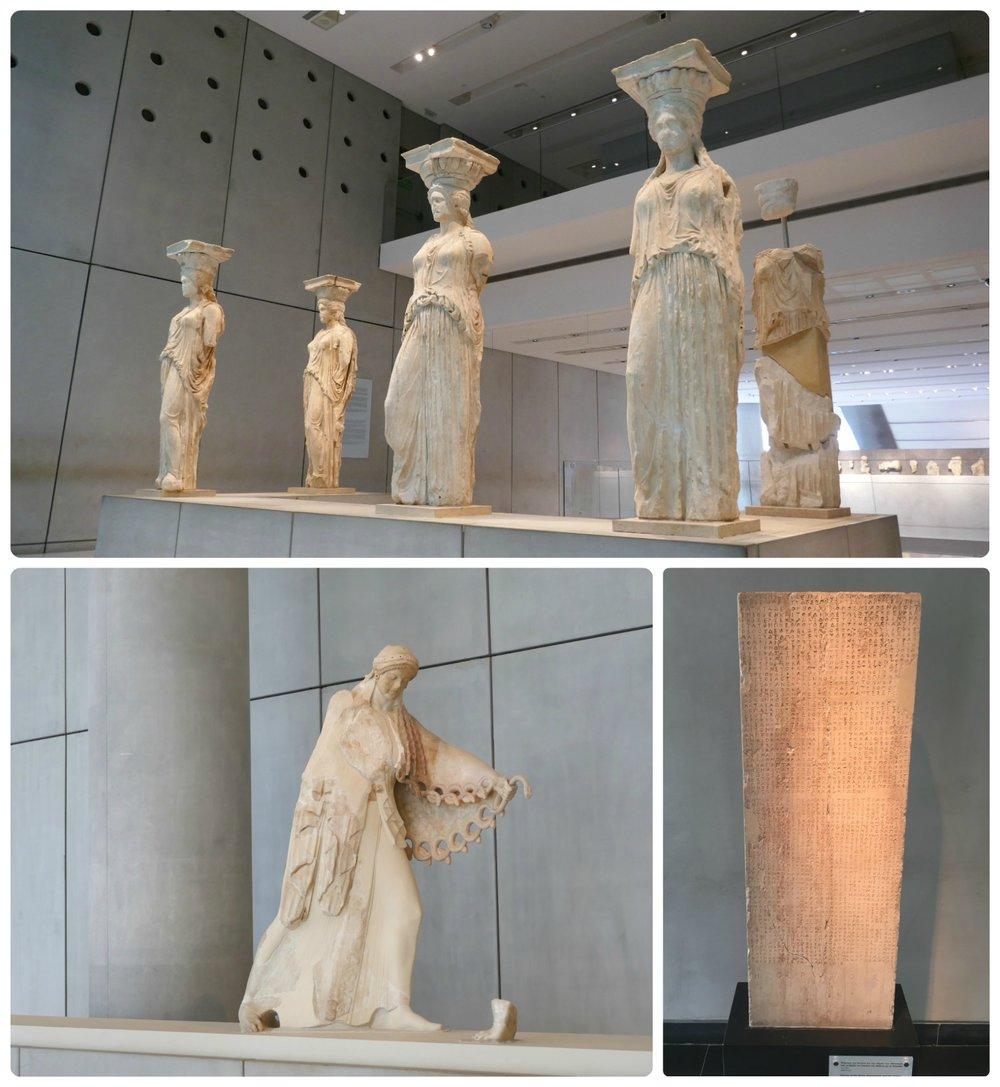 Artifacts displayed at the Acropolis Museum Athens. Clockwise (from the top): Five of the six original caryatids from the Maidens Porch (on the Erechtheion within the Athens Acropolis) are elegantly displayed in the center of the museum, the Decree of the Boule (Parliament) and the Demos of the Athenians regulating the relations of Athens with Chalkis dated  446/5 BCE, Colossal Statue of Athena dated 525 BCE.