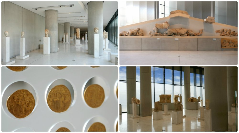 Various displays inside the Acropolis Museum Athens, including sculptures and gold coins.
