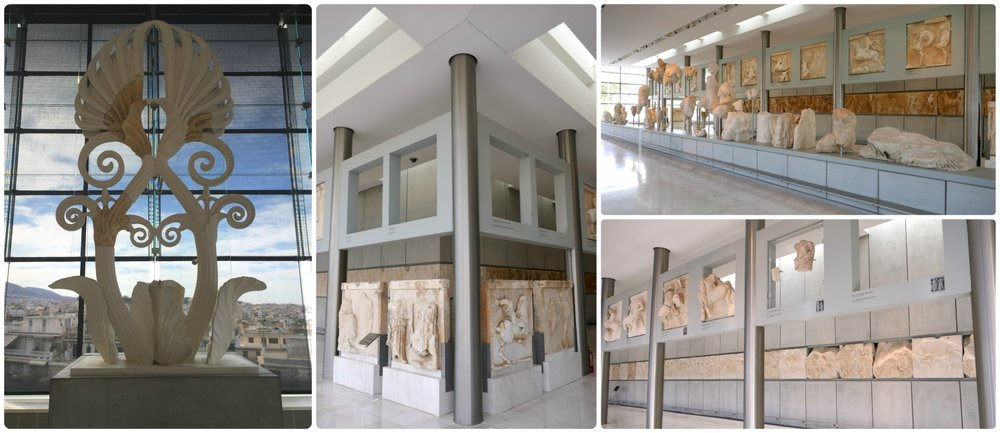 The third floor of the Acropolis Museum Athens holds the frieze from the Parthenon and the Akroterion that topped the Parthenon.