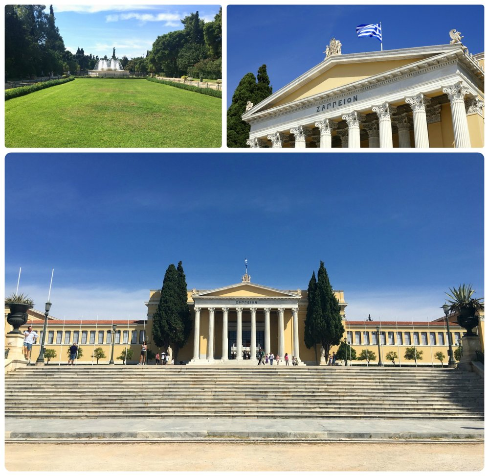 The Zappeion Hall is an imposing structure in Athens, Greece. The square and fountain in front of the hall are wonderful meeting places in the warm sun!