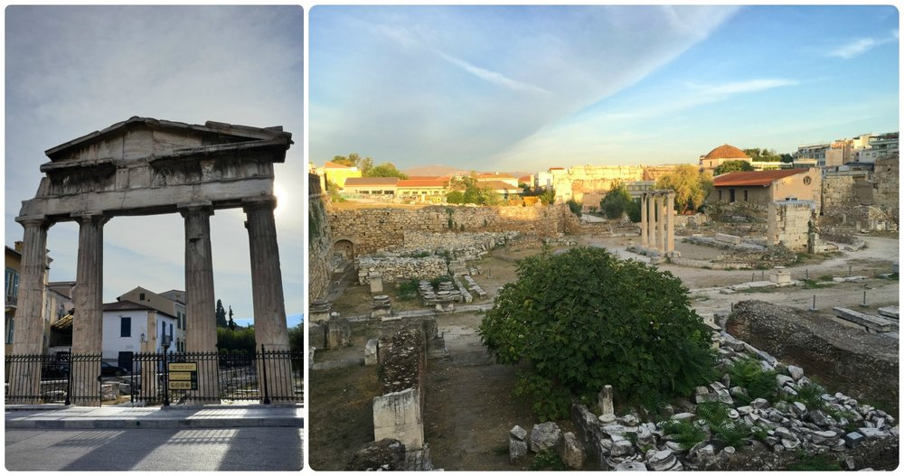 Both the Roman Agora (left image) and Hadrian's Library (right image) are included in the combined ticket. It's worth mentioning that both of these photos were taken from the exterior of the ancient ruin site. So, in other words, this is what an onlooker without an admission ticket can see of the sites.