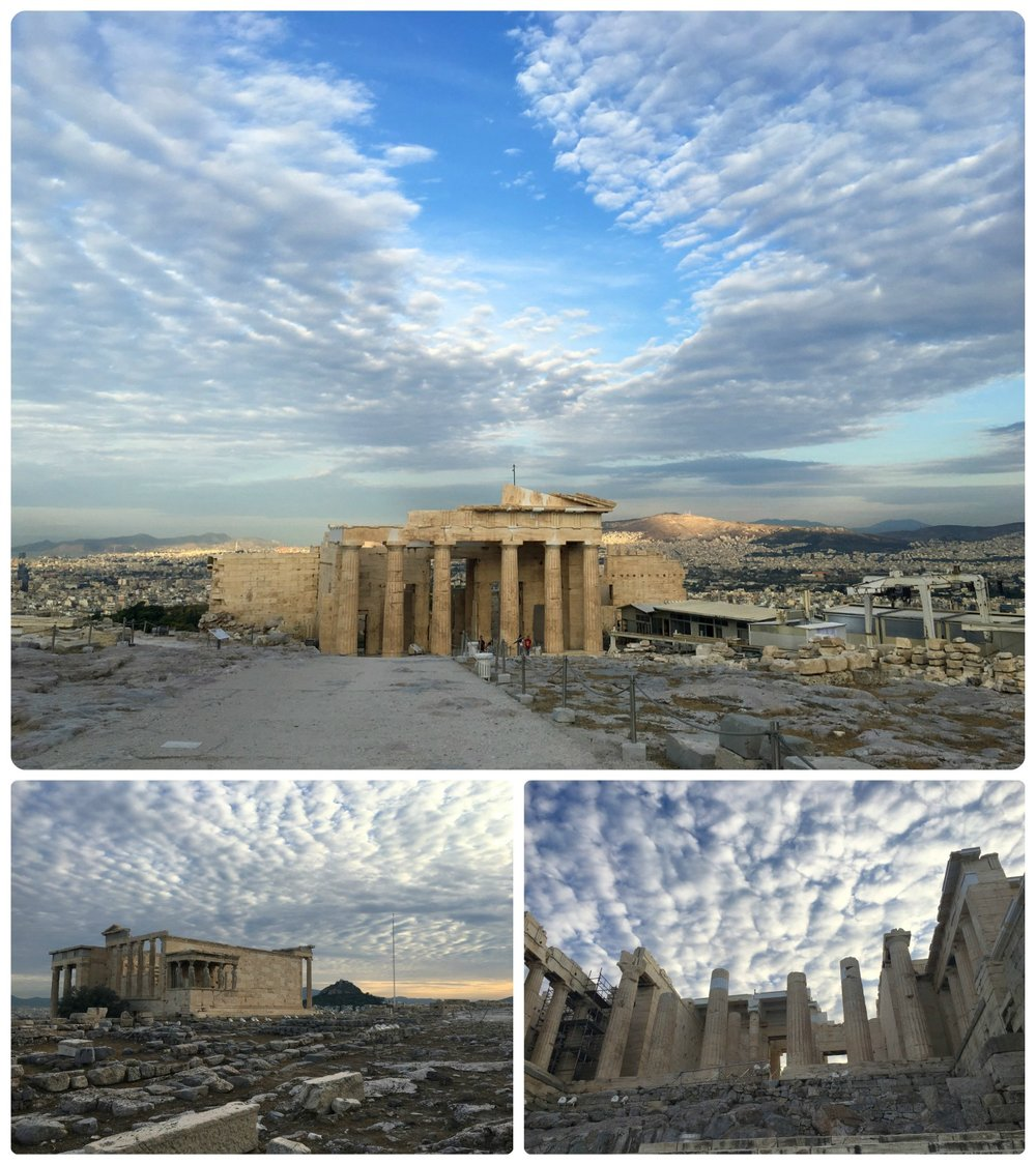 Clockwise (from the top): At the top of the Acropolis looking back at the Propylaea, before reaching the top as we were about to enter the Propylaea, the ruins in the foreground are the Old Temple of Athena and in the background is the Maiden's Porch and the Erechtheum.