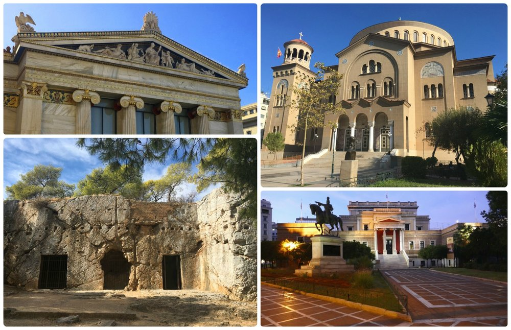 From ancient ruins to Greek academies, and from modern churches to parliament buildings, there's something for every architectural taste! Clockwise (from the top left): Academy of Athens, Church of Saint Panteleimon, Old Parliament House, Socrates Prison on Pnyx Hill.
