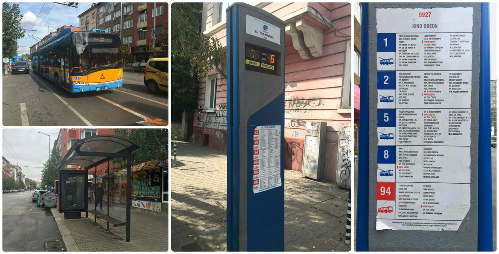 Sofia, Bulgaria buses, bus stops, and bus signs.