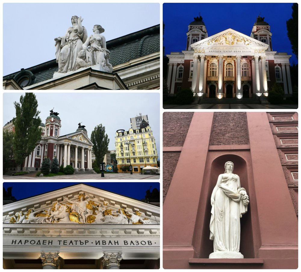 Sofia, Bulgaria: We arrived at dawn to see Ivan Vazov National Theater and then came back later in the day to admire the detail of the architecture in the daylight.