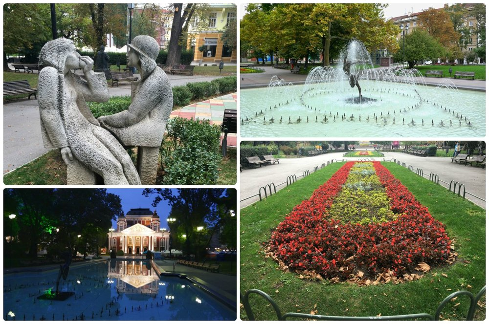 Across from Ivan Vazov National Theater is City Garden, a place where locals come to relax in Sofia, Bulgaria.