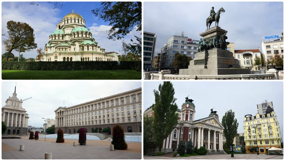 Hitman  (2007), a movie based on the popular video game, was partially filmed in Sofia, Bulgaria! Clockwise (from the top left): Alexander Nevsky Cathedral, Monument to Tzar Liberator, Ivan Vazov National Theater, Independence Square.