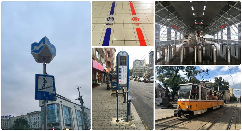 Public transportation is a great way to get around Sofia, Bulgaria! Clockwise (from the left): Look for the big blue and white 'M' to find the entrance to a metro station, Terminal 2 at the Sofia Airport had colored directional arrows showing visitors the way to the metro and the bus, the Sofia Airport metro station, a tram in city center, a bus stop with bus arrival information.